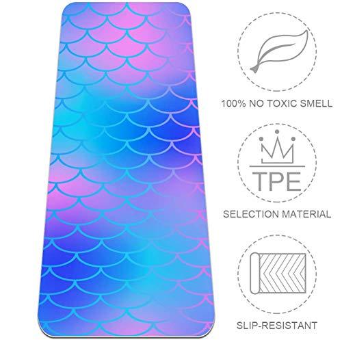 Esterilla de yoga con diseño de sirena, color azul, ecológica, antideslizante, antidesgarros, para yoga, pilates, estiramiento, meditación, piso, entrenamiento, esterilla de 72 pulgadas x 24 pulgadas
