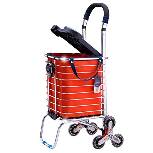 Hand Trucks Folding shopping cart rolling grocery cart with rotating wheel, waterproof bag, padded handle, aluminum frame for convenient storage, silver hand truck (Style : D)