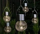 Fachhandel Plus LED Hänge-Solarleuchten 5 Stück Kristallglas Solarlampen hängend Gartenkugel