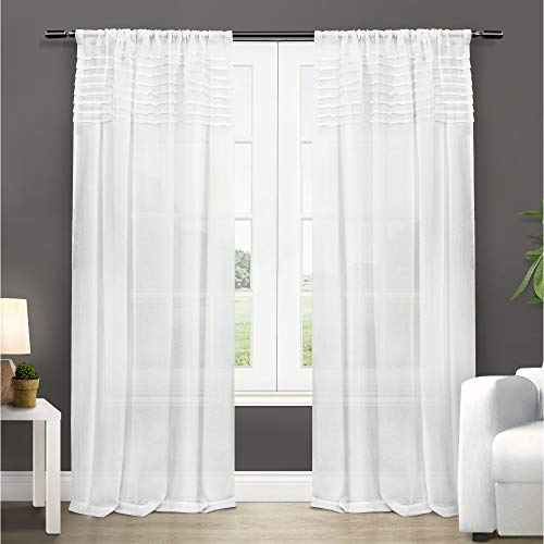 Exclusive Home Curtains Barcelona Sheer Window Curtain Panel Pair with Rod Pocket, 50x96, Winter White, 2 Piece
