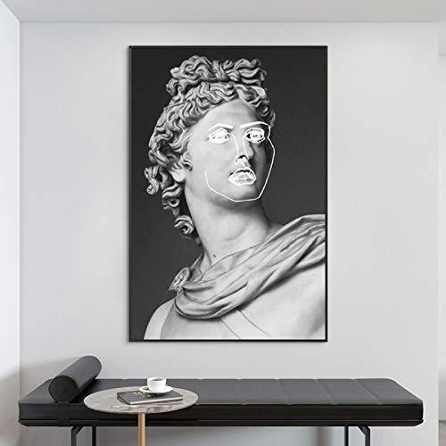 Cuadro Moderno de Escultura en Blanco y Negro.