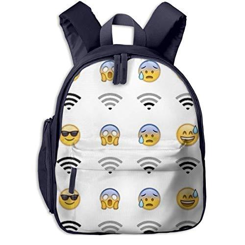 Lindas Mochilas Escolares Mochila para Estudiantes emoticones de Mochila Escolar para niños y Mochila Impermeable para niños/niñas WiFi Mochila de Dibujos Animados para niños