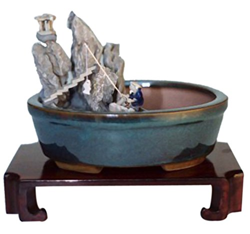 Bonsaiboy Home Decor Water Stone Landscape Scene Ceramic Bonsai Pot - 8 x 6