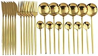 Twbbt Ensemble de couverts en acier inoxydable pour 24 pièces - Miroir doré - Couverts, fourchettes, cuillères à café - En...