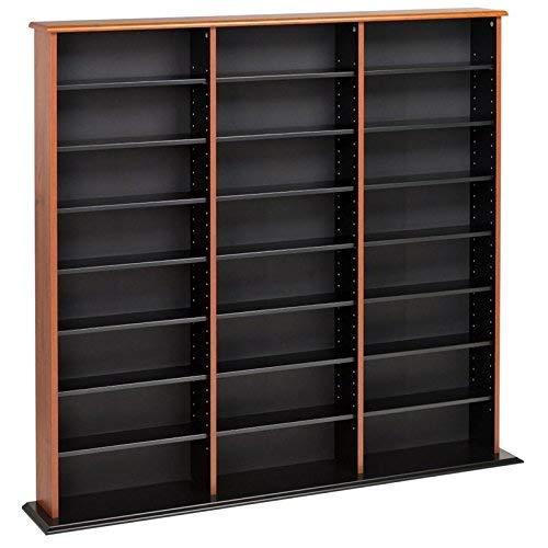 Prepac Triple Width Wall  Storage Cabinet, Cherry and Black