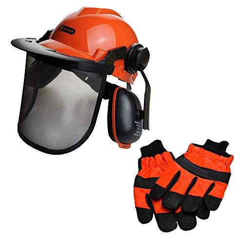 Chainsaw Safety Helmet/Hard Set & Extra Large Gloves