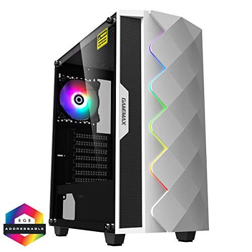 GameMax White Diamond ARGB Mid-Tower PC-Gaming-Gehäuse, ATX, 3-poliger Aura-Stecker und Buchse, integrierter ARGB-LED-Streifen, 1 x 120 mm ARGB-Lüfter inklusive, wasserkühlend, weiß