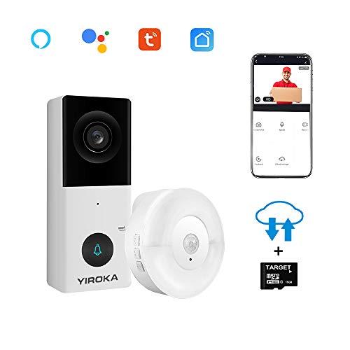 Yiroka Video Türklingel mit Kamera WLAN 2 Draht, HD 1080P, kompatibel mit Alexa, WiFi Gegensprechanlage, Cloud-Speicher, Max. 128 GB SD-Karte, 2,4 G WiFi, IP55 wasserdicht, mit Empfänger, Weiß