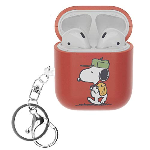 Peanuts Snoopy ピーナッツ スヌーピー AirPods と互換性があります ケース キーホルダー エアーポッズ用ケース 硬い スリム ハード カバー (キャンプ スヌーピー 袋) [並行輸入品]