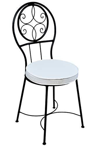 ORIGINAL Mediterraner Stuhl Gartenstuhl aus Metall Schwarz Terrassa ø 40 cm   Balkonstuhl Inkl. Sitzkissen Stuhlkissen   Eisenstuhl als Bistrostuhl   Mediterrane Deko im Garten Terrasse oder Balkon