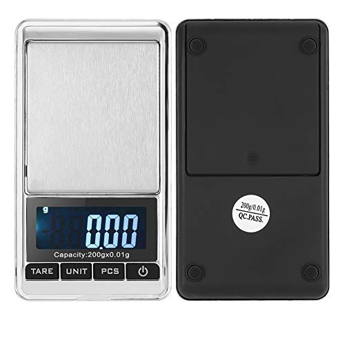 Electronic Digital Scale Digital Kitchen Scale, Mini Portable Pocket Digital Jewelry Precision Scale with LCD Display, 5 Replaceable/Interconvertible Lens for Food, Jewelry and More(200-0.01G)