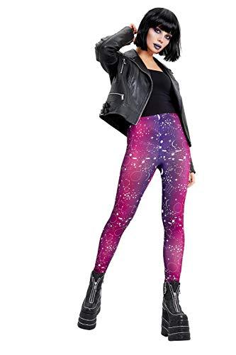 Smiffys 50848S - Mallas para mujer (talla S), diseño de estampado galáctico, color morado