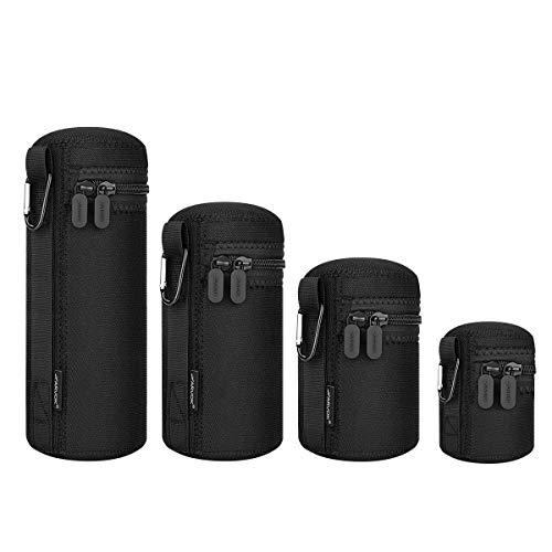 ARVOK Objektivtasche, 4 Größen Neopren Objektivbeutel, wasserdichte Schutzbeutel für Kamera Objektiv, 5mm Dicke Wasserabweisend und Stoßdämpfend für DSLR-Kameraobjektiv, Schwarz & Grau