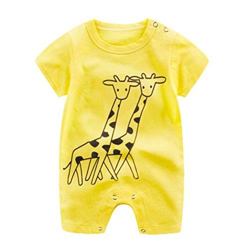 0-3 meses bebé vestidos de verano pajaritos dibujos jirafa impresión pelele sin mangas mono ropa talla 59 (amarillo)