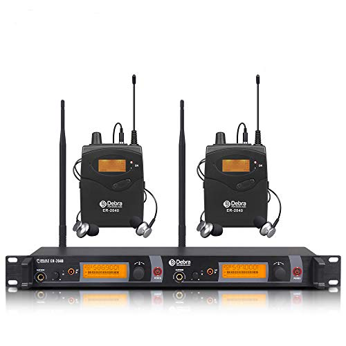 Beste Klangqualität! Professional True Diversity UHF In-Ear-Monitor-System Dual Channel Monitoring ER-2040 Typ für Bühnenaufnahmen Studioüberwachung (SR2050 Update-Typ) (mit 2 Empfänger)