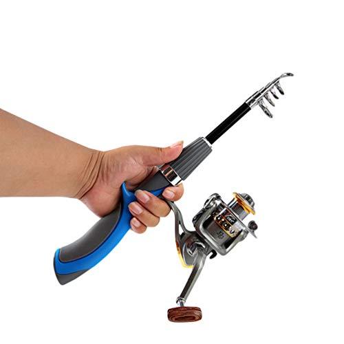 Xingkee Caña de Pescar telescópica, caña de Pescar para Hielo Pesca de caña de Pescar al Aire Libre portátil de Invierno Mini caña de Pescar retráctil retráctil 2 140cm