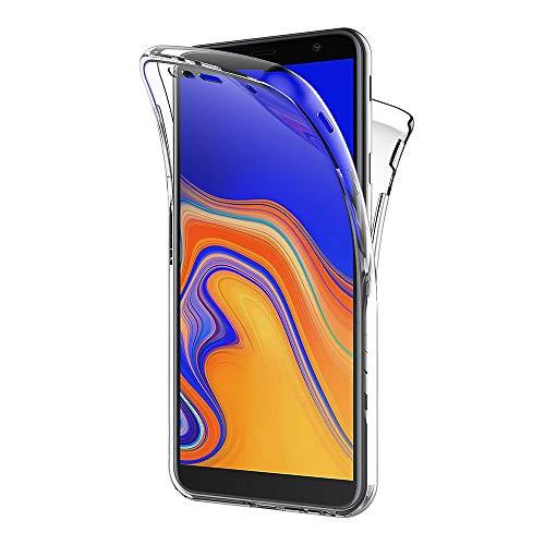 AICEK Funda Samsung Galaxy J4 Plus, Transparente Silicona 360°Full Body Fundas para Samsung Galaxy J4+ Carcasa Silicona Funda Case (6,0 Pulgadas)