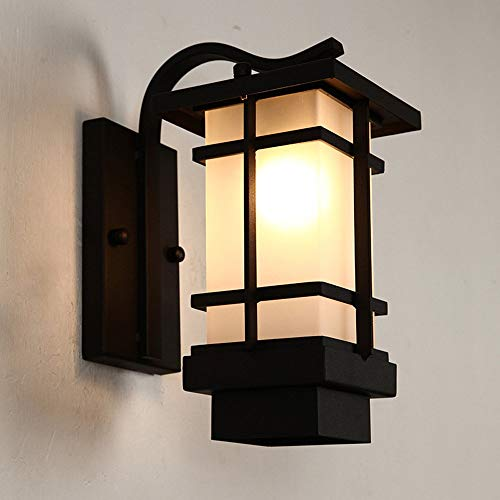 Retro ijzer zwart outdoor waterdichte wandlamp nachtlicht veiligheid verlichting hal balkon hal patio decoratie wandlamp met glazen kap