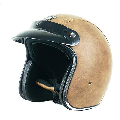 CARACHOME Helm Motorfiets, Motorhelm Retro, Motorfiets Harley 3/4 Half Helm, Unisex PU Lederen Open Gezicht Helm Motorfiets, Motocross, Scooters, Commuting, Winkelen.