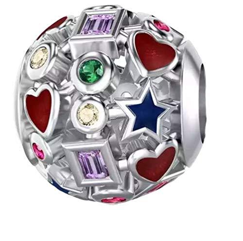 Marni's – Charm plata de ley 925, Bola decorada con cristales de colores - Abalorios para pulseras y collares estilo europeo. Regalos originales para mujer aniversario o dia de la madre