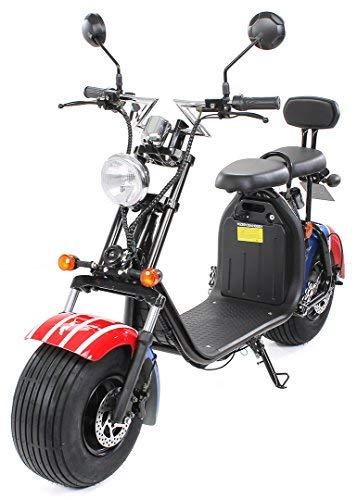 eFlux Chopper Two Elektro Scooter 1500 Watt 60 Volt 20AH mit Straßenzulassung 35 Kilometer Reichweite viele Farben (American Flag)
