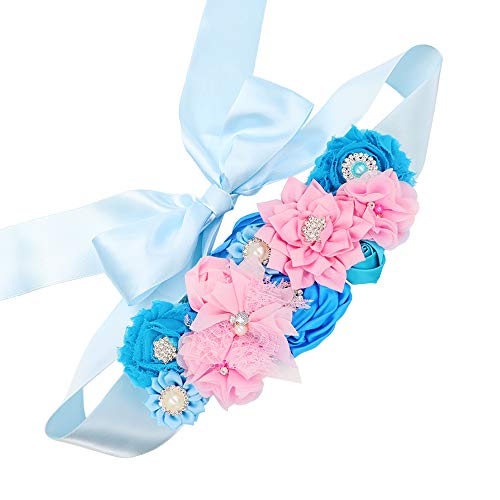 Gender Reveal Maternity Sash - Baby Reveal Pregnancy Sash Keepsake Baby Shower Flower Belly Belt (Pink & Blue)
