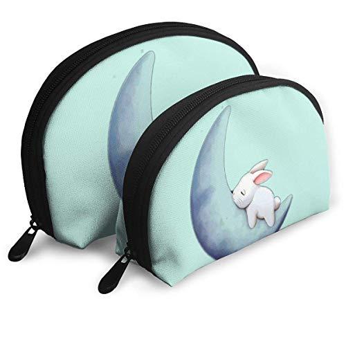 Fantasy Moon Printed Portable Bags Clutch Pouch Coin Purse Cosmetic Travel Storage Bag 2Pcs Handbag