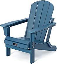 Folding Adirondack Chair Patio Chairs Lawn Chair Outdoor Chairs Painted Adirondack Chairs Weather Resistant for Patio Deck Garden, Backyard Deck, Fire Pit & Lawn Furniture Porch & Patio Seating- Blue