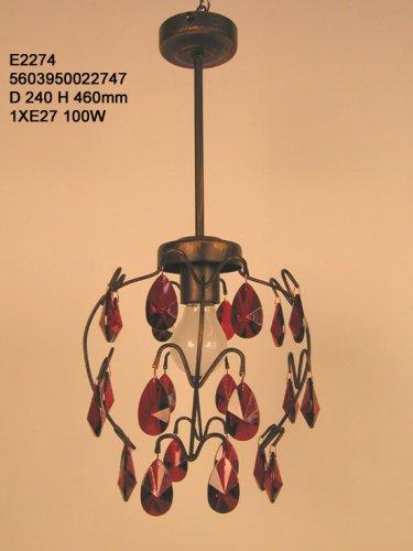 PAMPILLES Lustre acier verre 60x60x90 cm Marron et rouge