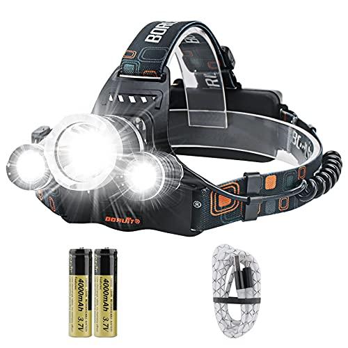 BORUIT RJ-3000 LED Head Torch,Super Bright 5000 Lumens USB Rechargeable LED...