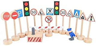 Kaptin 15 Pcs Wooden Street Signs Playset, Traffic Signs Lights Playset for Children Play