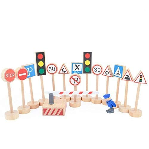 Kaptin 15 Pcs Wooden Street Signs Playset, Traffic Signs Lights Playset for Children Play