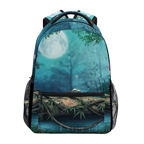 poiuytrew Seta con Galaxia Mariposas en el Bosque Mochila Bolsas de Hombro para Estudiantes Mochila de Viaje Mochilas Escolares