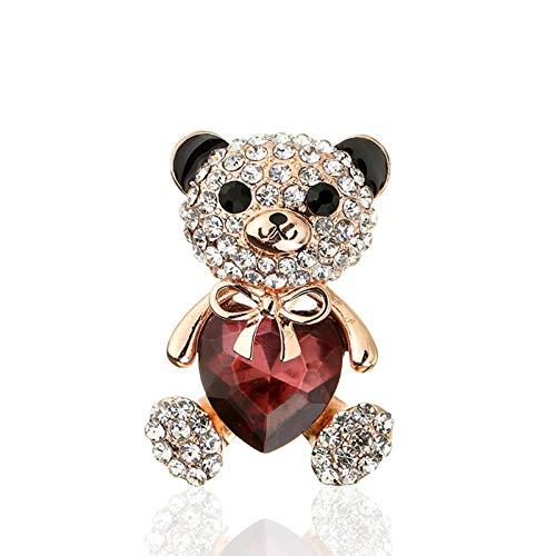 XiaoHeJD 2 Pcs Crystal Love Bear Brooch Couple Diamond Brooch Brooch Coat Suit Bag Decoration