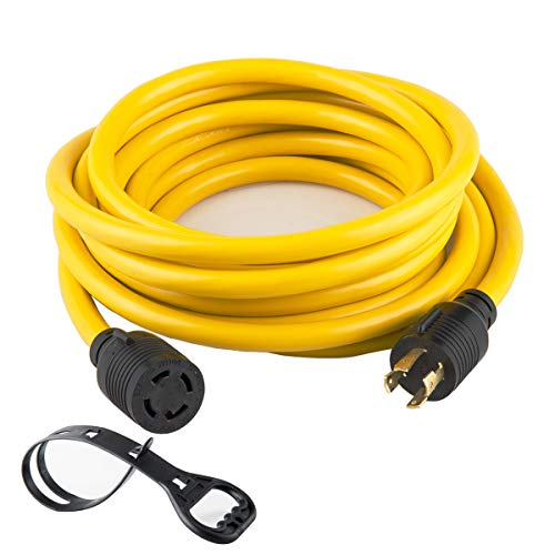 40FT Heavy Duty Generator Locking Power Cord NEMA L14-30P/L14-30R,4X10 Gauge SJTW Cable, 125/250V 30Amp 7500 Watts Yellow Generator Lock Extension Cord with UL Listed Yodotek