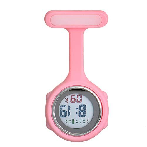 Cxypeng Krankenschwester Damen Armbanduhr,Silikon leuchtende medizinische Krankenschwester Uhr Taschenuhr elektronische Digitale Brust-Pink,FOB-Uhr Damen Taschenuhr