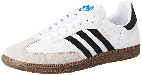 adidas Herren Samba Niedrig, Weiß/Schwarz/Gum, 45 1/3 EU