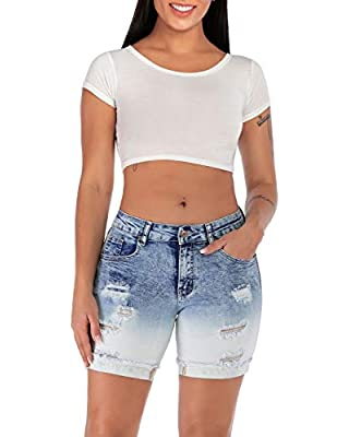 Women's Mid Waist Elastic Denim Short Jeans for Plus (15, Blue)