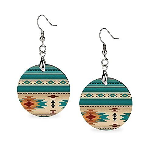 Hypo-Allergenic Circular Wooden Drop Earrings Ear Decor for Women, Birthday, Indiana Western Southwest Mesas Earrings