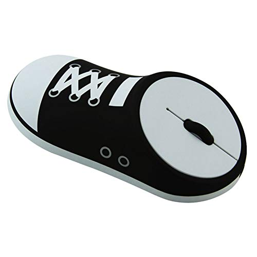 CHUYI Cool Canvas Shoes Shape Ergonomic Design Rechargeable Wireless Mouse Slim Optical Mice with USB Receiver (Stored at Bottom of The Mouse) for PC, Laptop, Computer