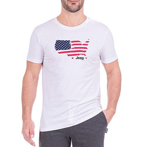 Jeep O100985-W000-XXL T-Shirt Homme, Blanc, XXL