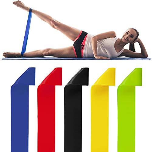 Resistance Band 5er Set Widerstandsbänder Fitnessband Gymnastikband 100% Naturlatex Theraband mit Übungsanleitung Fitness Übungsbänder Trainingsbänder für Beine und Po, Physiotherapie