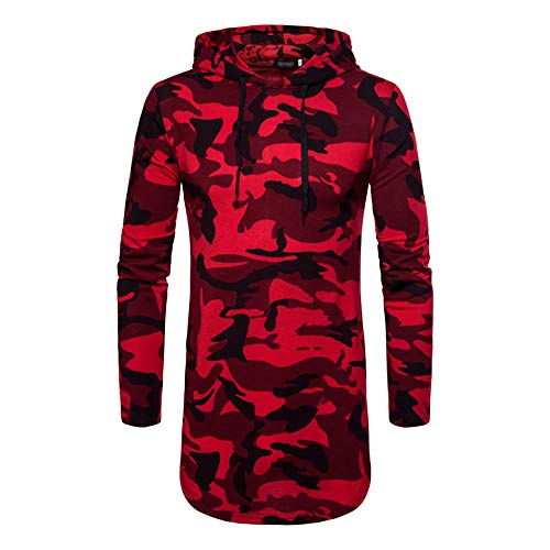 XFentech Homme Longue Sweat-Shirt à Capuche - Camouflage Hoodies Pullover Manches Longues Tops Outwear Hommes, Rouge, EU XL=Tag 2XL