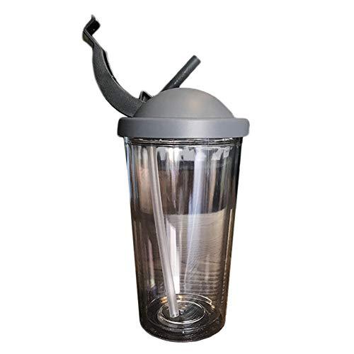 [チューカー] タンブラー ストロー付き ウォーターボトル 二重構造 カップ コップ 蓋付き ドリンク入れ プラスチック マグカップ 4色 こぼれない 洗いやすい BPAフリー プレゼント500ML グレーA F