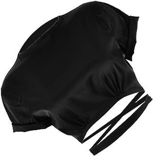 SOIMISS Womens Backless Navel T- Shirt Summer Short Sleeve Midriff- baring Shirt Crop Top Slim Tie Back Tee Shirt
