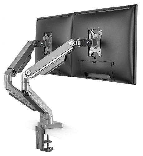 RICOO Computer Monitor Tisch-Halterung 2 Monitore (TS8811) Ergonomischer PC Bildschirm-Ständer für 13-27 Zoll (bis 8-Kg, VESA 100x100) Mechanische Feder Schreibtisch Stand-Fuss