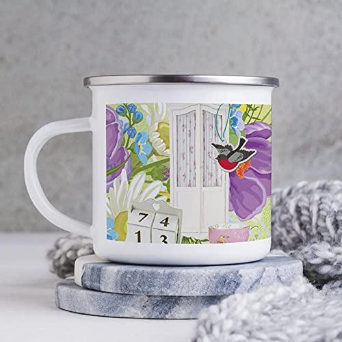 Emaille-Tasse, lustiger Kaffeebecher, Tür und Vogel des Retro-Stils in Clip-Art, Kaffeetasse, Kaffeetasse, Tasse, für Valentinstag / Geburtstag