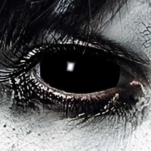 Leo Eyes Funlinsen Black Sclera-Markenqualität- 1 PAAR-D-22mm-Halloween Kontaklinsen Schwarze,Cosplay, LARP, Zombie, Crazy Funlinsen, Halloween, Fastnacht,Vampir