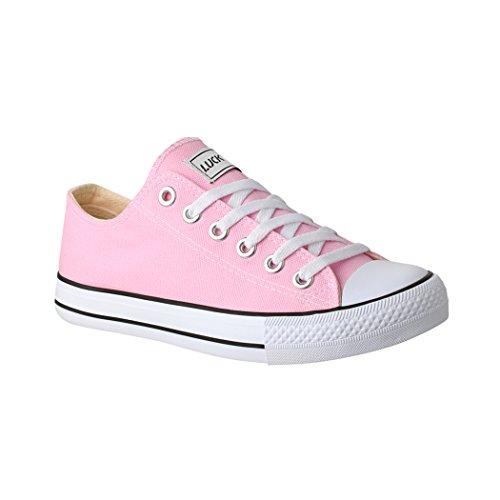 Elara Unisex Sneaker Turnschuh Low Top Textil Schuhe Chunkyrayan N-CA01/CB09 Pink-36