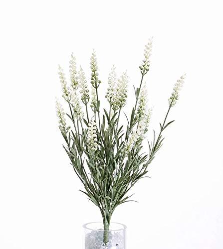 artplants.de Lavande Artificielle Leina, 19 panicules, crème, traitée Anti UV, 45cm - Fausse Lavande - Fleur synthétique